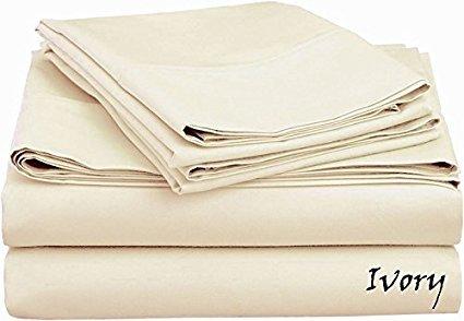 Luxuriöse Kollektion Platinum Hohe Gewicht Blatt Set 4PCS VON KM Leinen 1200TC (Blatt Pocket–61cm Tief), mit 100% ägyptische Baumwolle Alle Größe, Muster alle Farbe, baumwolle, elfenbeinfarben, Volle Größe