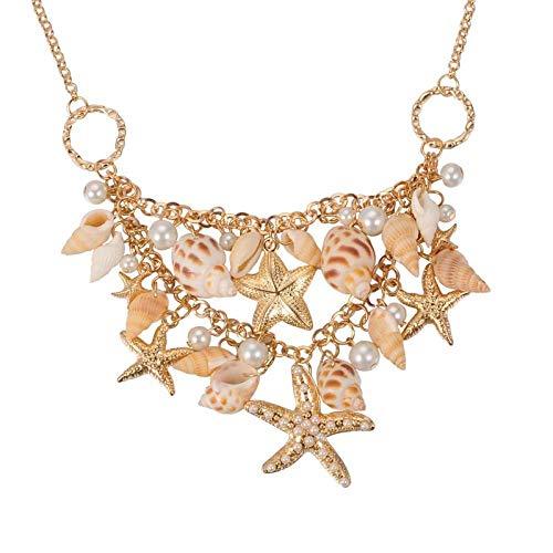 MMRLY Muschel Strand Halskette, Seestern künstliche Perle Lätzchen Aussage Halskette Schmuck für Meerjungfrau passt Strand Urlaub ()