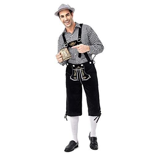 PPangUDing Männer Oktoberfest Kostüm 3 TLG Tops + Trägerhose + Hut Cosplay Bierfest Karneval Trachtenkleid Mittelalter Vintage Set Bayerisches Nachtclub Bar Trachtenhemden (XL, Schwarz) -