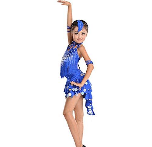 Wgwioo Mädchen Tassel Pailletten Praxis Kleid Kinder Latin Tanz Kostüme Teen Kids Bühne Aufführungen Gruppe Match Kleidung, Deep Blue, 120Cm (Teen Gruppe Kostüm)
