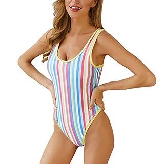 CixNy Mode 2019 EIN Stück Bikini Set Hohe Taille Tankini Retro Einfarbig Gepolsterter Streifen Rückenfrei Pompon Swimwear Monokini Badeanzug Damen Bademode Reisen Beachwear Grün Blau Pink Rot S-XL