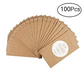 Aibesser 100 Pcs Gift Bags&Stickers Mini Kraft Paper Bags for Wedding Handkerchiefs Gift