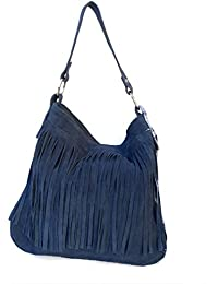 Tasche Wildleder mit Fransen blau 33x36x6cm