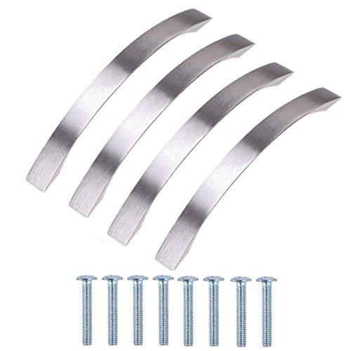 Satin-nickel Schublade Ziehen (WCIC 4 Stück Aluminium Satin Nickel Hardware Griff Ziehen Knöpfe Euro Stil Bar 128mm für Schrank Schublade Schrank Schreibtisch)