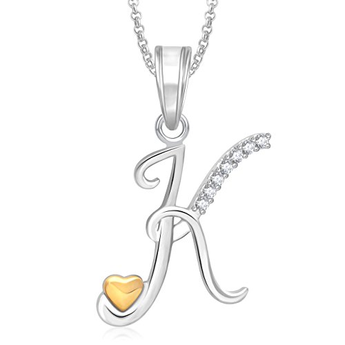 Meenaz Gold Silver Plated 'K' Letter Pendant Locket Alphabet Heart With Chain For Men AND Women PS346