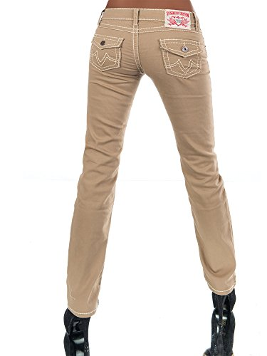 H922 Damen Bootcut Jeans Hose Damenjeans Hüftjeans Gerades Bein Dicke Naht Nähte Camel