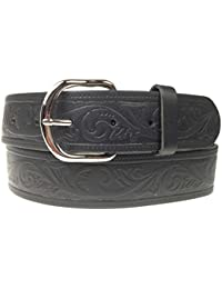 """New Mens Womens Fashion Curved Silver Buckle Jeans Trouser Embossed 40mm Real Leather 1.5"""" Made Belt In England"""