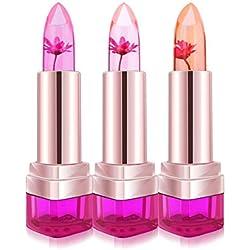 Lot de 3 Couleurs Fleur Gelée Rouge à Lèvres Couleur Changeant Magique Aromatisé