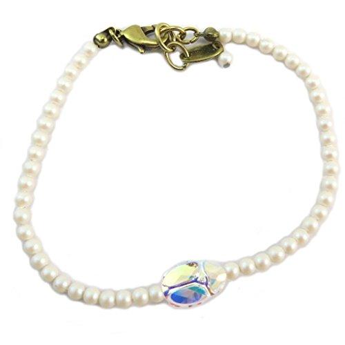 Lily-Crystal [P6679] - Handgefertigtes armband 'Tsarine' pulver weiß golden boreal weiß (käfer)- 3 mm, 11x8 mm. - Lily, Die Elf-prinzessin