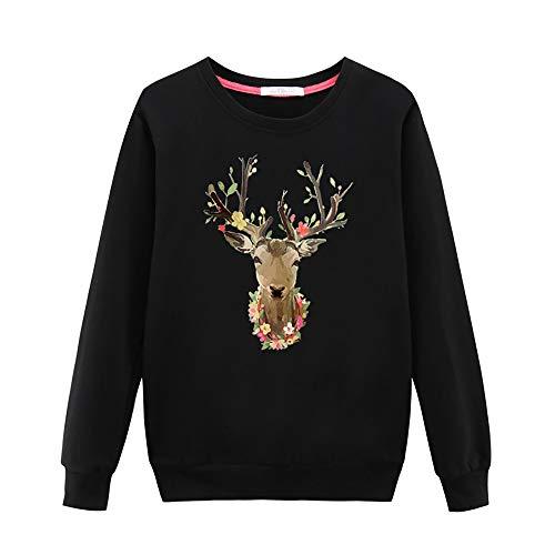 Jkhhi Frauen Beiläufiges Langärmliges Weihnachtst Shirt Gedruckt mit Runder Kragen Bluse Langarm Rundhalsausschnitt Rundhals Pullover Crew Sweat Sweatshirt Oberteil Mantel Tops -