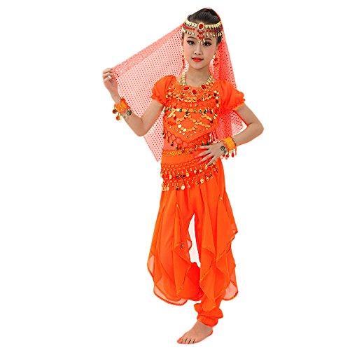 Lonshell Tanzkleidung für Kinder Mädchen Bauchtanz Kostüm Outfit Chiffon Kurzarm Tops + Hose Anzug Ägypten Tanz Belly Dance Performance Kleidung