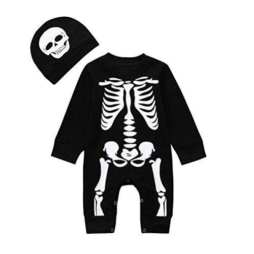 (Huhu833 Baby Kleidung, Neugeborenes Baby Jungen Mädchen Halloween Knochen Print Strampler Overall + Set Outfits Kleidung (Schwarz, 6M-70CM))