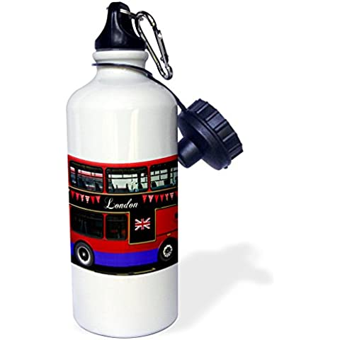 3dRose wb_113051_1 London Double Decker Red Bus with Bunting and Flag-Uk Great Britain United Kingdom Travel Souvenir Sports Water Bottle, 21 oz, White