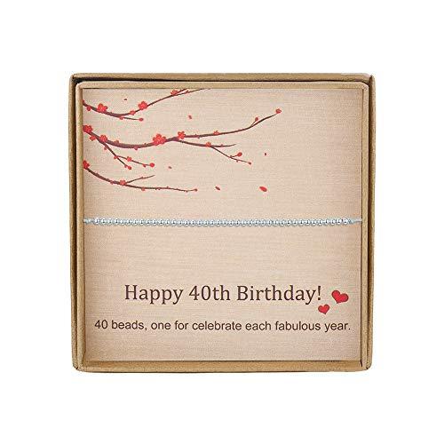 Pulsera de plata de ley con 40 cuentas para 40 años de edad, regalo de cumpleaños para el día de la madre