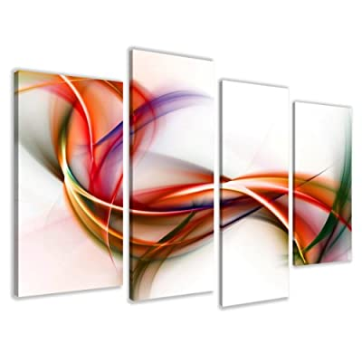 "Picture - art on canvas abstract length 51"" height 31,5"", four-part parts model no. XXL 6159 Pictures completely framed on large frame. Art print Images realised as wall picture on real wooden framework. A canvas picture is much less expensive than an oil"