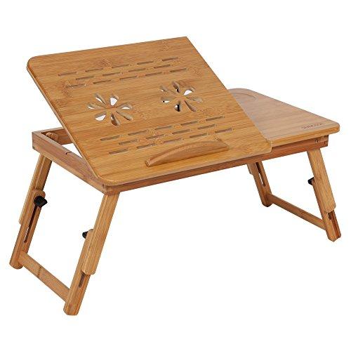 Pokerty Laptop-Schreibtisch, Bambus tragbare verstellbare Flip Top Laptop Schreibtisch Faltbare Frühstück serviert Bett Tablett für Notebook Tablet - Flip-top-schreibtisch
