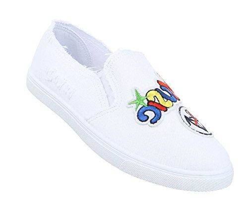Damen Halbschuhe Schuhe Slipper Loafer Weiß