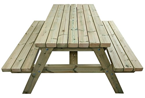 MG Timber Products Heavy Duty 5FT Wooden Picnic Table Made With Chunky Furniture Grade Swedish Redwood. Pressure Treated to Resist Weather for 15 Years. Extremely Strong & Sturdy.