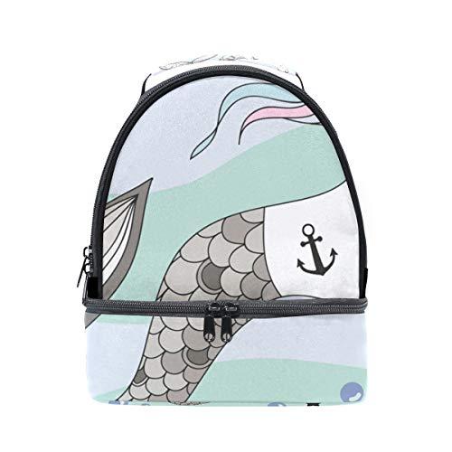 Schulter Double Lunch Bag Einhorn Meerjungfrau Schwanz Rainbow Bubbles Sterne Kühler verstellbarer Gurt für Picknick