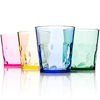 250 milliliter Premium Drinking Glasses- Set of 4 - Unbreakable Tritan Plastic - No BPA - Made in Japan (Assorted Colours)