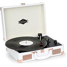 Nostalgy by auna Peggy Sue Tocadiscos retro • 2 altavoces estéreo integrados • Reproductor vinilos • Digitalizar discos • LP • USB • AUX •Asa de transporte • Para 3 tamaños de • 3 velocidades • Elegante diseño maleta años 50 • Blanco/oro rosa
