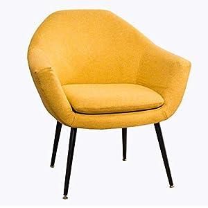 MJK Stühle, Counter Lounge Eckstühle Stahlbeine Wannenstuhl Sessel mit Armlehnen Amp; Rückenlehne Wohnzimmer Küche,Gelb