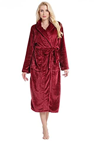 Womens Shawl Wrap Warm Bath Robe Wine Red Fleece Bathrobe Spa Robe XL