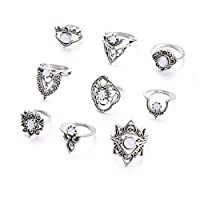 CanVivi Creative Vintage Hollow Geometric Ring Set Ladies Boho Style Engraved Joint Ring