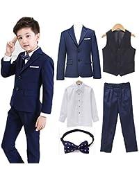 Angelmemory - Juego de 5 Piezas de Traje Formal para niños Tuxedos para Bodas
