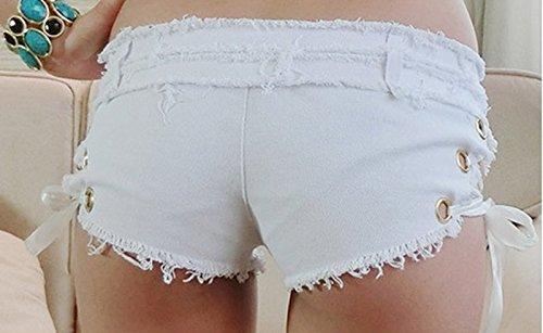 Femmes Hot laçage Slim Sexy Taille Basse Burr Cut Off Mini Jean Denim Shorts Pantalons Noir