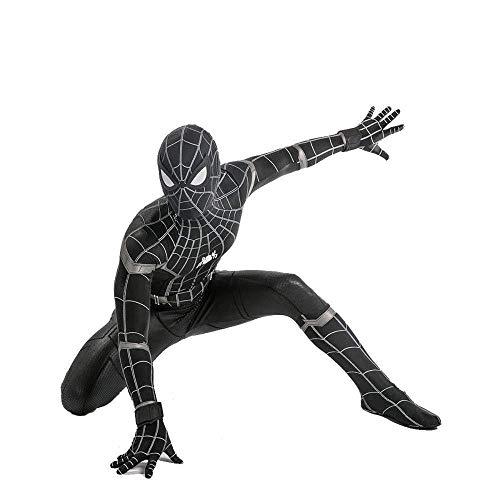 WEGCJU Schwarz Spiderman Kostüm Erwachsenes Kind Halloween Spandex Trikot Kostümfest Film Kleidung,Adult-XXL