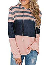 GOSOPIN Womens Triple Color Block Srtipes Hoodies Casual Pullover Drawstring Sweatshirt S-2XL