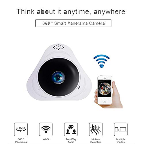ZLMI WiFi-Kamera HD 960P 3D VR 360-Grad-Ansicht Mini-CCTV-Kamera 1.3MP Netzwerk Home Security Wi-Fi-Kamera Panorama IR,Black 360-grad-cctv