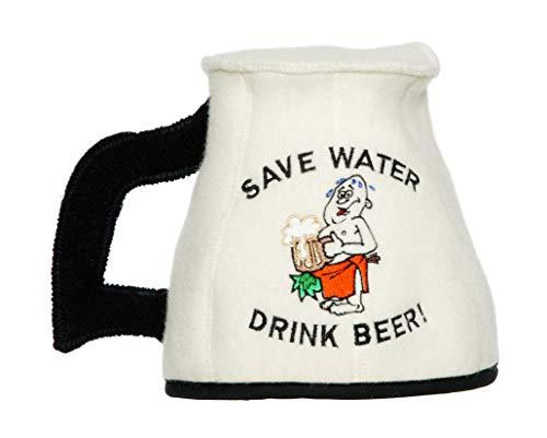 Natural Textile Saunahut \'Save Water Mug\' White - 100{c1030506f0351f60174d7ca69ccc0d1876c9ddf1218379404453bdd0f476e040} organische Wollfilzmützen - Schützen Sie Ihren Kopf vor Hitze - Englische Sauna E-Book Handbuch inklusiv - mit Stickerei
