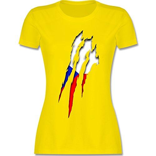 EM 2016 - Frankreich - Tschechien Krallenspuren - tailliertes Premium T-Shirt mit Rundhalsausschnitt für Damen Lemon Gelb