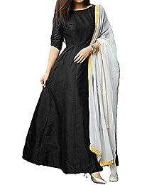 Purva Art Womens Black Tapeta Silk Stitched Long Style Gown With Dupatta (PA_2401_Black_Tapeta_Stitched_JFW-125)