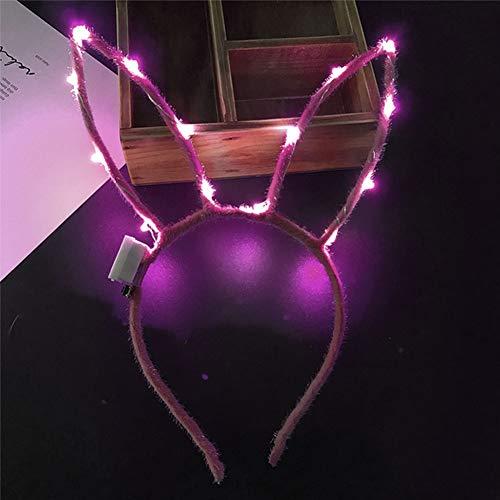 Yzki Oster-LED-Stirnband, niedliche Hasenohren, blinkende Haarreifen für Oster-Kostüm, Party-Dekoration, Rose, Free Size