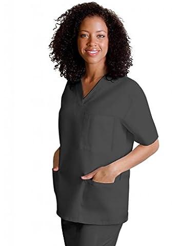 Adar Medical Unisex V-Neck Tunic 3 Pocket Scrub Top - 601 - Pewter - XL