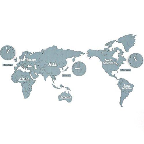 Unbekannt CivilWeaEU- Weltkarte Nordic Uhr Uhr Wanduhr Wohnzimmer Persönlichkeit DIY Hause Tisch (Farbe : I) (Tisch Mdf-quadratischer)