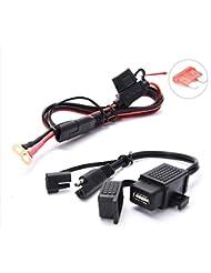 Nosii Adaptador de Carga para Motocicleta Adaptador USB Resistente al Agua 12V2.1A Fusible en línea 10A
