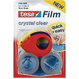 Tesa Klebefilmabroller tesafilm 19mmx10m + 2 Rollen crystal clear rot/blau