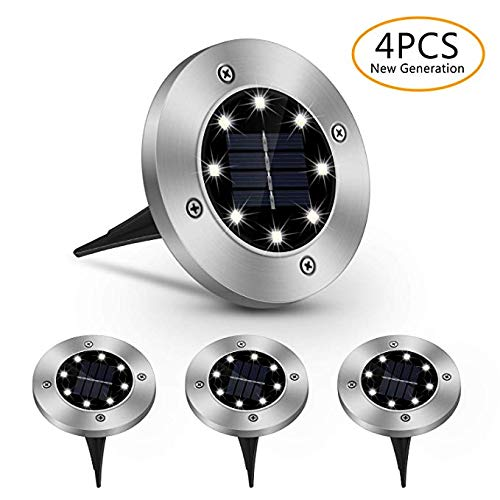 Solarlampen für Außen - COSMOERY Solarleuchten Solarlicht Solar Garten Licht Bodenleuchte Gartenleuchten IP65 Wasserdichte LED Einbaustrahler Bodenleuchte für Garten, Außen (4 Stück) - 4 Stück 4