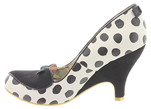 Irregular choice lOVE 4244-7, escarpins femme à pois blancs Blanc - White-Black