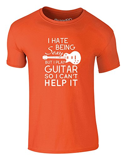 Brand88 - I Play Guitar, Erwachsene Gedrucktes T-Shirt Orange/Weiß