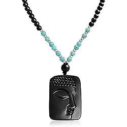 Cara de Buda Obsidiana Colgante Collar de abalorios Turquesa Sintética 26 pulgadas