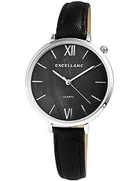 Reloj mujer nácar negro plata números romanos Analógico Cuero Reloj de  pulsera afbafaec90af