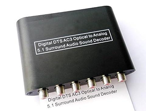 Easyday Convertisseur audio Decodeur AC3 DTS Numérique Optique 5.1 Dolby Surround 2.1 Chaînes stéréo, TV analogique RCA - Toslink Optic Coaxial Coax Adapter