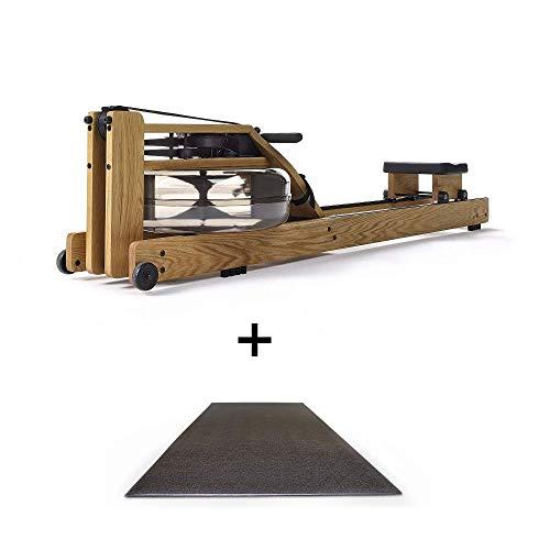 Waterrrower Eiche inkl. Bodenschutzmatte Rower Po klappbar aus Fitnessgerät aus Holz & S4 Monitor Rudergerät für zu Hause
