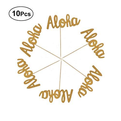 ppers Aloha Kuchen Picks für Geburtstag Hawaii Luau Strand Tropical Party Kuchen Dekoration 10 Stücke ()