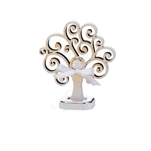 Lebensbaum Kommunion Silber Holz Gold Höhe 9Acca Life 3G